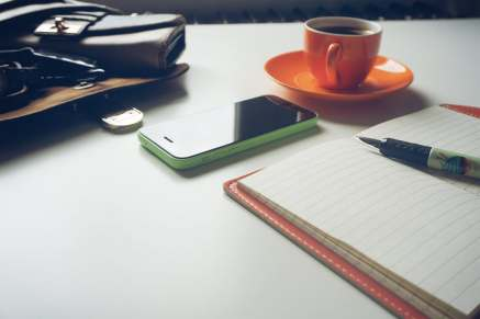 A students guide to life - phone, cofee and notepad picture