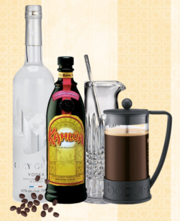 A students guide to life - picture of vodka bottle, kahlua bottle, coffee press and coffee beans